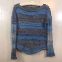 Anthropologie Elsamanda Mohair Wool Blue Gray Striped Long Sleeve Sweater Small