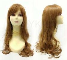 "Heat Resistant Long Straight Wig Strawberry Blonde Bangs Skin Top 24"""