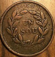 1835-38 MONTREAL BAS CANADA TOKEN BOUQUET UN SOU COIN