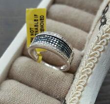 0.750ct Blu E Bianco Anello di banda di diamanti in platino in Argento Sterling Dimensione N