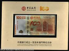 MACAO MACAU CHINA 100 PATACAS 2012 *COMMEMORATIVE*BOC 100th.UNC CURRENCY +FOLDER