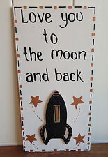 SHABBY CHIC PLAQUE LOVE YOU TO THE MOON VALENTINES LOVE YOU PERSONALISED GIFT
