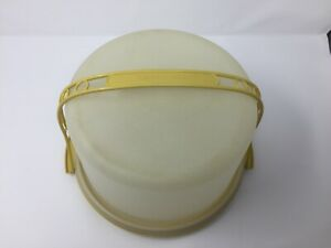 Tupperware Round 9 inch Cake Pie Carrier 684-5 Frosted Cover~GOLD base w/ Handle