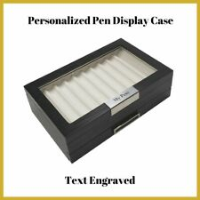 20 Piece Personalized Black Ebony Wood Two Level Fountain Pen Display Case Box