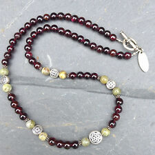 Garnet and Connemara marble celtic necklace. Irish made.Ireland jewelry.designer