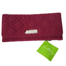 Vera Bradley Womens Tri-Fold Wallet ID Credit Card Red Berry Side Zipper Coin
