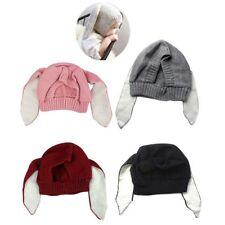 Bunny Rabbit Ear Beanie Hat Baby Girl Toddler Crochet Knit Winter Earflap Cap