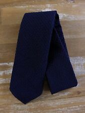 auth DRAKE'S Drakes of London navy blue self-tipped wool silk tie - NWOT