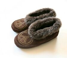 Lucky Brand Brown Suede Peace Sign Faux Fur Lined Comfort Slippers Size US 7