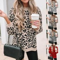 Women O-Neck Leopard Print Pullover Long Sleeve Loose Knit Sweater Tops Jumpers