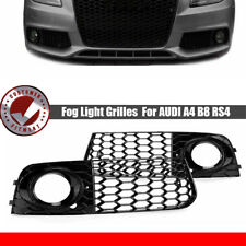 Glossy Black Front Bumper Fog Lamp Cover Grilles For Audi A4 B8 RS4 2009- 2012
