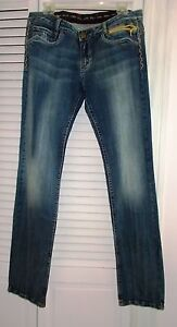 REROCK FOR EXPRESS STRAIGHT LEG EMBELLISHED DISTRESSED JEANS SIZE 31