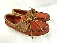 Women's Size 5.5 1/2 LL L.L. Bean Boat Deck Shoes Red and Brown Leather