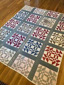 Vintage Churn Dash Or Kaleidoscope HANDMADE Cotton QUILT-one Block Needs Replace