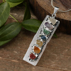 Selenite 7 Chakra Gemstone Pendant Natural Crystal Reiki CHARGED Healin Necklace