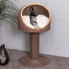 "17"" Brown Ball Hooded Elevated Rattan Wicker Cat Bed Kitty Condo Cushion Scratch"