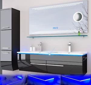 Doppelwaschbecken Badmöbel Set schwarz oder weiss hochglanz Kosmetik LED Uhr Bad