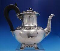 Francois Durand French Sterling Silver Tea Pot 3-D Flower Finial w/Ebony (#3984)