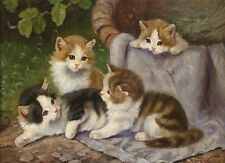 Charming oil painting lovely and cute 4 four little cats kittens in landscape AA