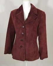 Womens WILSONS Fall Burgundy Suede Leather M Jacket Coat BlazerLined Button