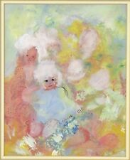 """1960's Gouache Painting Abstracted Little Girls signed """"A. Connor"""""""