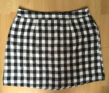 FOREVER 21 PENCIL SKIRT BLACK WHITE CHECK GINGHAM COTTON L UK 12 14 BRAND NEW