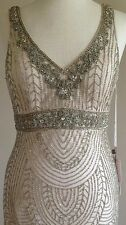 Size 14 * SUE WONG Champagne Beaded Wedding Bridal Cocktail Evening Party Dress