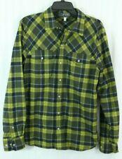 iBex men's M Flannel Green Plaid Shirt Wool Blend w/ Pockets Engraved Buttons