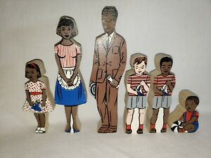 """Vintage Guidecraft Wood Cut Family - ~3-8"""" Tall - 1960s 1970s"""