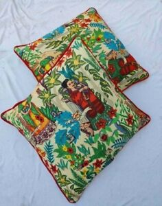 Frida Khalo 16x16 Indian Home Décor Piping Cushion Cover Sofa Pillow Case Covers
