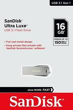 SanDisk® Ultra Luxe™ 16GB USB 3.1 Flash Drive Speeds up to 150MB/s Memory Stick
