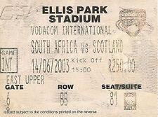 Sud Africa V Scozia - 2nd test 14 JUN 2003 Ellis Park, Jo' Burg RUGBY BIGLIETTO