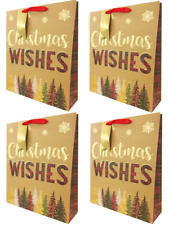 Christmas Gift Bag Set 4 Pack Extra Large Traditional Kraft Tree XL Holder Wrap