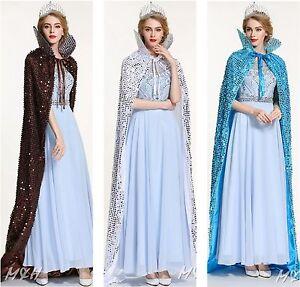 "Sparkling Scaled Sequin Cloak 71"" Long Cape Satin Lotus Collar Cowl Formal Dress"