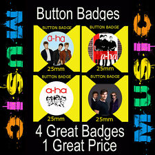 """A-HA - 4 GREAT BUTTON BADGES - 25mm -1"""" CD4532"""