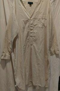 CHRISTOPHER HAYES MEN'S SLEEP NIGHTSHIRT Sz.L Cotton Blend LS pocket Tan/Stripe