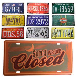 Vintage License Plate Wall Tin Sign Iron Metal Poster Home/Club/Bar Decor