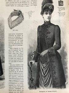 MODE ILLUSTREE SEWING PATTERN June 9,1889 - REDINGOTE, Bathing suit, Blouse