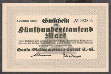 Hamburg -Hansa-Elektromotoren- 500.000 Mark vom 1.09.1923, KNr. 4 mm