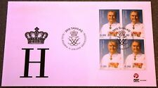 Greenland Post Official FDC 2009.06.11. Prince Henrik 75th - Block of Four