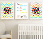 Elmer The Patchwork Elephant Nursery Print Set Of 3, Colourful Baby Room Picture