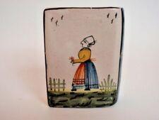 Antique Snuff Box Quimper Figural Book Fleur de Lis Hand Painted Ceramic HB Lady