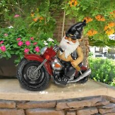 Tattoo Biker Gnome in Black Leather on Motorcycle Garden Statue Sculture