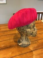 Ladies Vintage Bright Pink Turban Hat Small
