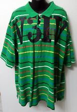Men's Rocawear Green Multi Color Stripe Polo Shirt Big & Tall 3XL
