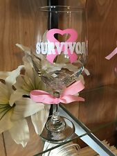 Breast Cancer Survivor Wine Glass Can Be Personalized Upon Request.
