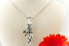 Schmuck Anhänger Vogel Papagei Tahiti Perle Brillanten Tsavorit 750er Weißgold
