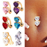 Reverse Crystal Two Heart Bar Belly Ring Gold Navel Button Barbell Body Piercing