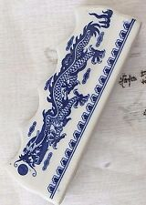 1 CHINESE L BLUE DRAGON WHITE BRUSH CERAMIC STAND REST FOR 4 BRUSH JAPANESE TOOL