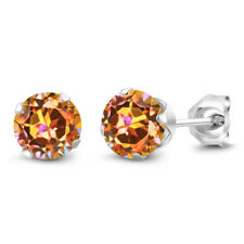 1.90 Ct Round Ecstasy Mystic Topaz 925 Silver 4-prong Women's Stud Earrings 6mm
